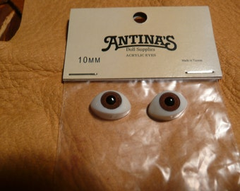 10 mm Light Brown Doll Eyes are made in acrylic, by Antina's Doll Supply