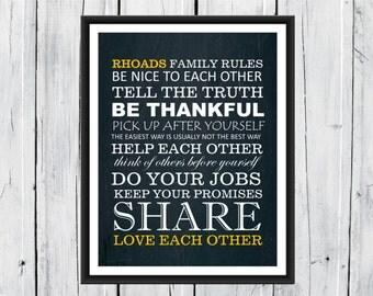 Family Rules  Print - Chalkboard - Family Gift