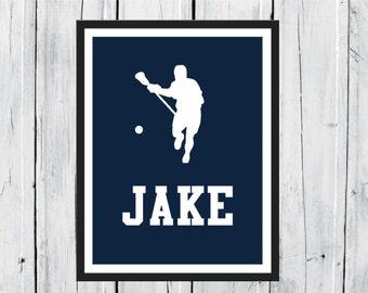 Lacrosse  Sports Silhouette-  Lacrosse Player - Custom Print -  Personalized