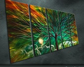 """Large Original Metal Wall Art Modern Abstract Painting Sculpture Indoor Outdoor Decor """"Magic tree"""" by Ning"""