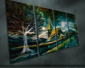 "Large Original Metal Wall Art Modern Abstract Painting Sculpture Indoor Outdoor Decor "" Twilight Taga "" by Ning"