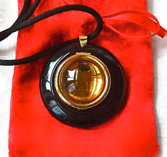 Vintage Paloma Picasso Solid Perfume Locket Poured Glass Center w/Gold Bezel - Rare - Red Velvet Bag - Original Silk Cord