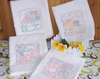 Flour Sack Embroidered Set of Garden Designs
