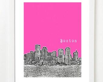 Boston Skyline Art - Boston MA Art Poster - VERSION 4