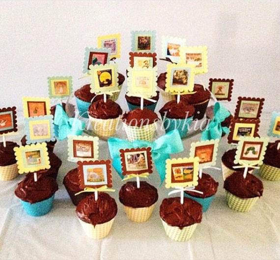 Book Theme Cupcake Toppers Birthday Party Baby Shower