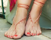 Peach drops bridal barefoot sandal, beach wedding, sexy foot thong, anklets for women, foot jewelry,
