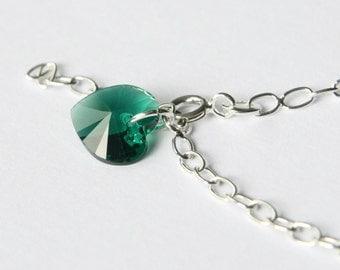 May Birthstone Bracelet, Green Swarovski Heart Bracelet, Simple Sterling Silver Bracelet, Emerald Heart Bracelet