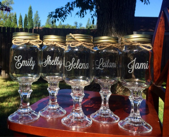 Items similar to redneck wine glasses 5 personalized for Etched glass wedding gifts