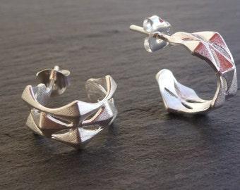 Small Geometric Sterling Silver Earring Hoops