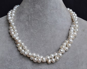 white pearl necklaces, 16 inches 8-9mm 2rows  freshwater pearl necklaces,pearl,wedding pearl necklaces,choker necklace,statement necklace