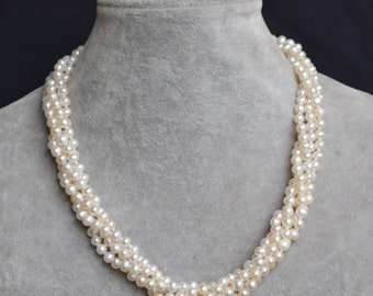 ivory pearl necklace,18 inch 4 row 5-6mm freshwater pearl neckalce,genuine pearl necklace, necklace,wedding necklace,bridesmaid necklace
