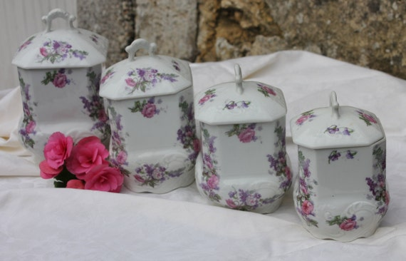 french porcelain floral canister set four by frenchvintagehome
