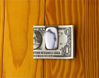 FREE SHIPPING , Stainless Steel Money Clip , One Of A Kind , Custom Made , 50.10 ct Dendrite Gemstone