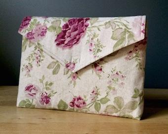 "13 inch laptop case, floral pattern, roses, eco friendly - ""envelope rose garden"""
