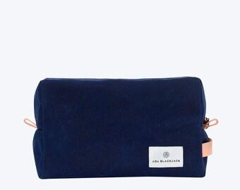 No. 11 - Waxed Canvas Dopp Kit, Mens Toiletry Bag, Shaving Kit, Mens Wash Bag, Waxed Canvas Pouch, Travel Dopp, Dark Blue