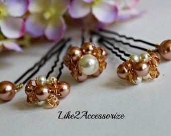 Bridal Pearl Hair Pins, Wedding Hair Piece, Cluster Pearl Pins, Crystal Swarovski Pearl, Rose Gold Ivory Pearl Hair Clip, Fall Wedding Clips