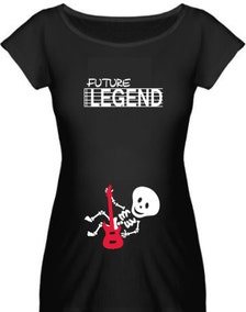 Halloween skeleton maternity shirt future legend guitar baby