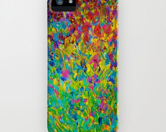 RAINBOW FIELDS Teal Blue Green Abstract iPhone 5 5c SE 6 6s 7 Plus Case Samsung Galaxy Cell Phone Cover Painting Pattern Fine Art Waves