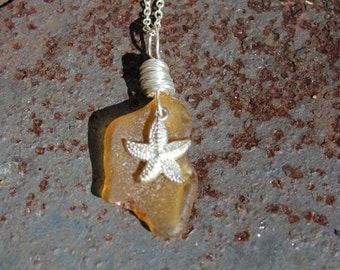 Yellow Amber Sea Glass Necklace