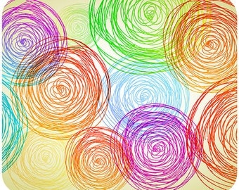 Crazy Colorful Circles sketch Mouse Pad