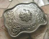 Monogram Personalized Groomsmen Gift, Bridesmaid Gift, Silver M Belt Buckle,Initial Monogrammed Etched Western Rhinestone Custom Belt Buckle