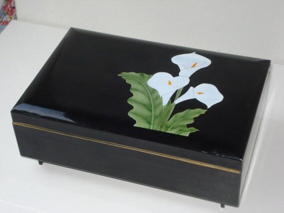 Vintage Otagiri Musical Jewellery Box Black Enamel Calla