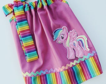 Custom Boutique Inspired My little Pony Rainbow Pillow Case Dress Sizes 0-6 mo, 6-12mo, 12-18mo, 18-24mo, 2t, 3t, 4t, 5/6, 7/8