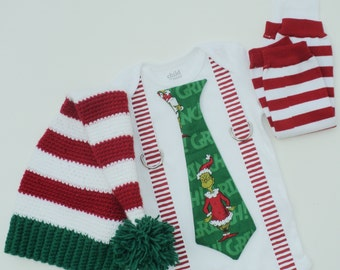 Christmas  Grinch Boys Tie Shirt With Suspenders, Leg Warmers and Stocking Hat