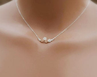 Dainty Flower Necklace, Mother Daughter Necklace, Flower Girl Gift, Charm Necklace, Unique Necklace, Sterling Silver, Rose Gold Fill
