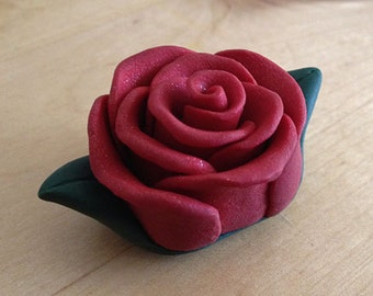 Red Polymer Clay Rose Pendant