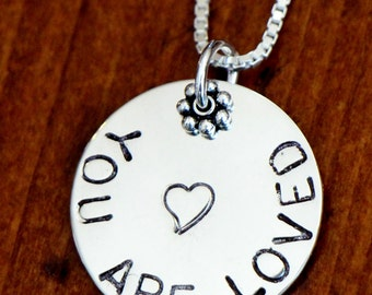 You are LOVED Sterling Silver Hand Stamped Necklace, Flower Girl Gift, Big Sister Necklace, Special Little Girl Jewelry