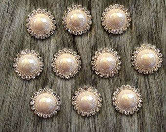 20 pieces Ivory Pearl Rhinestone Buttons 21mm - Pearl buttons