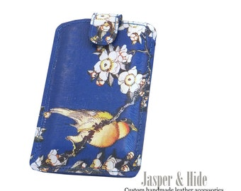 Genuine Hand crafted Leather phone case , Leather Phone Sleeve, With Blue Bird,  Katsushika Hokusai Print for Samsung, I Phone, Nokia, HTC.