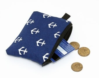 Coin purse, padded zip pouch, womens small zip wallet, iPod nano case - white anchors in navy blue