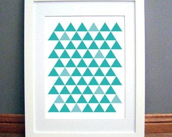 Triangle Grid Blue Aqua, Printable Wall Art, Geometric, Blue Modern, Downloadable pdf