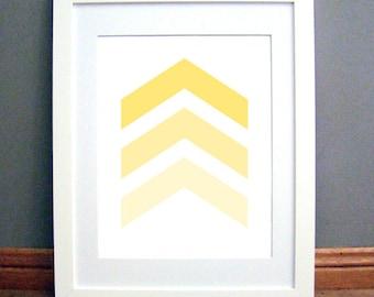 Yellow Chevron Arrows, Chevron Wall Art, Chevron Wall Print, Yellow Art, Yellow Wall Art, Printable PDF, Instant Download