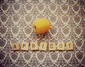 Vintage Style Art Print Letter Art Original Photography Food Apricot Fruit Color And Black and White Fine Art Print Picture Artwork