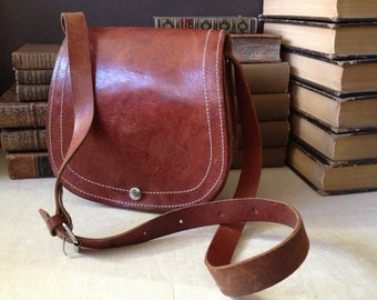 Vtg Saddle Bag // Benchcrafted Rustic Distressed Rust Brown Leather