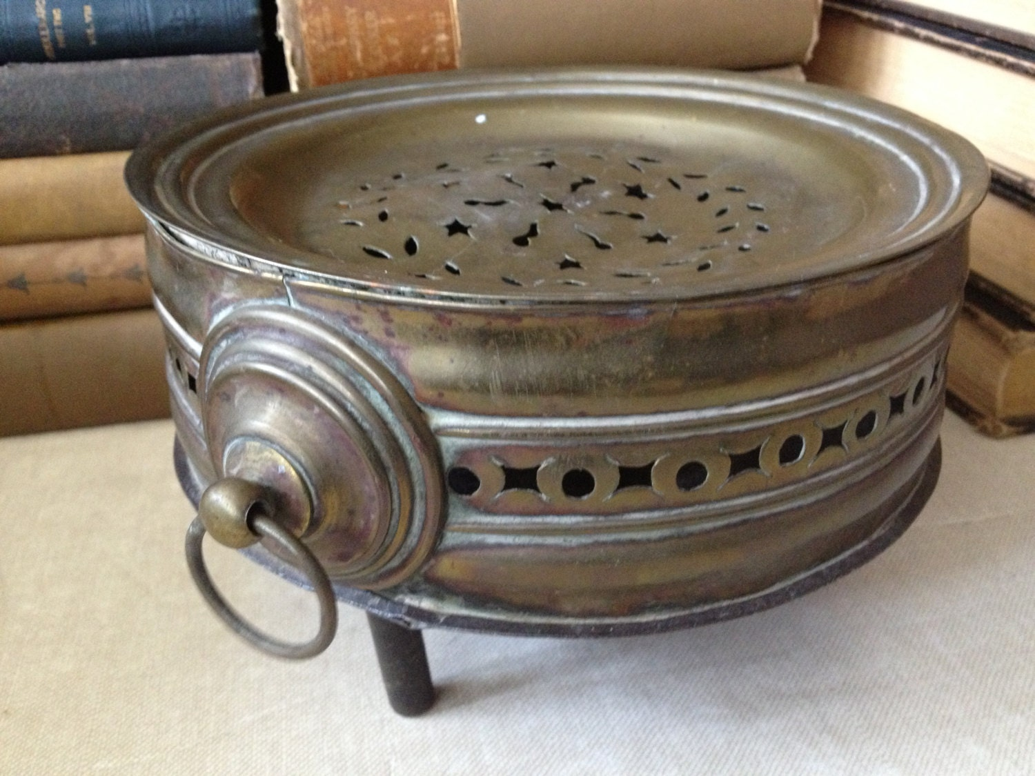 Dinner Plate Warmer ~ French brass plate warmer charmingly rustic kitchen