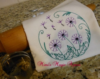 Flour Sack Towel with embroidered Dandalions