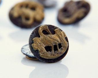 Vintage Heron Buttons - 7 pcs