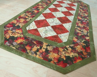 Quilted Table Runner Quilt Autumn Leaves 331