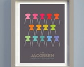 Mid century modern Colourful Chair print, Arne Jacobsen Ant Chairs, Retro poster A3