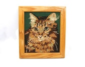 Cat, Kitten, Handcrafted Vintage Needlepoint,  Framed Needlecraft Wallhanging, Cat Lovers Gift, Vintage Handmade Home Decor