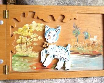 Wooden Photo Album, Handmade Baby Book, Vintage Photo Album, Hand Carved Baby Scrapbook, Vintage Keepsake Book, Folk Art Memory Book