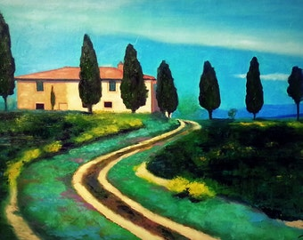 Original Abstract Painting - 43 x 30 - Spring Fields in Tuscany  - Mint Green Blue - Oil Contemporary Art - Landscape - Spring Summer