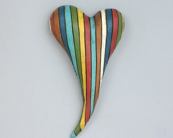 """Heart, ceramic wall art, Jacquline Hurlbert, one of a kind, unique, title: """"Reading Between the Lines"""""""