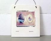 Avocado.  Polaroid Transfer.  Alligator Pear.   Print on Fired Clay.  Photograph Printed on Ceramic Slab Using Polaroid Emulsion.
