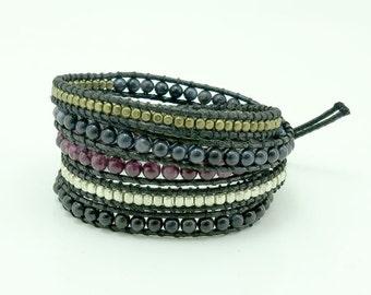 Garnet and agate wrap bracelet