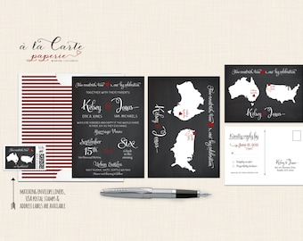 Destination wedding invitation Chalkboard-inspired Two Countries, Two Hearts bilingual wedding invitation and RSVP postcard